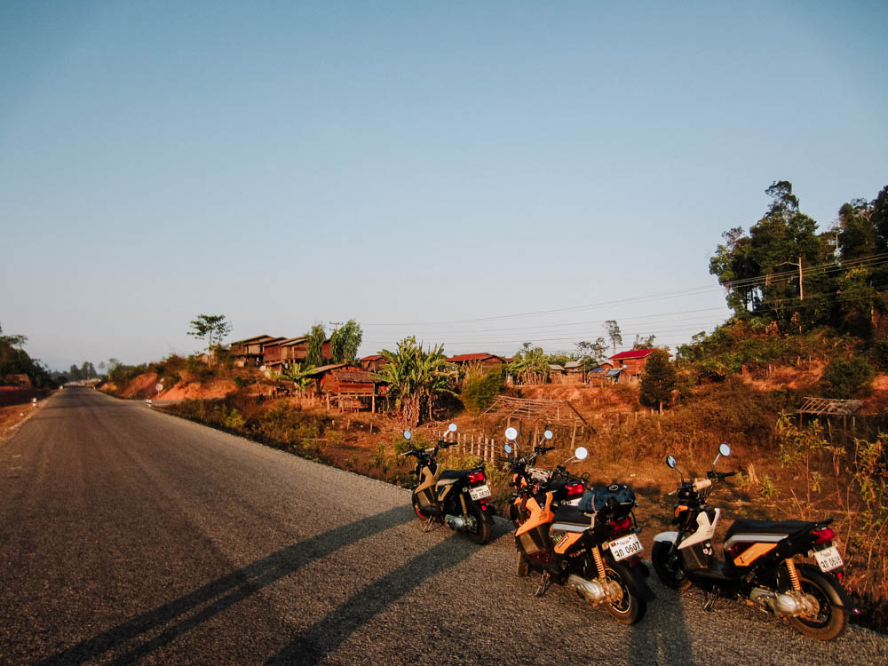 Motorcycles on the side of the road on the Thakhek Loop in Laos