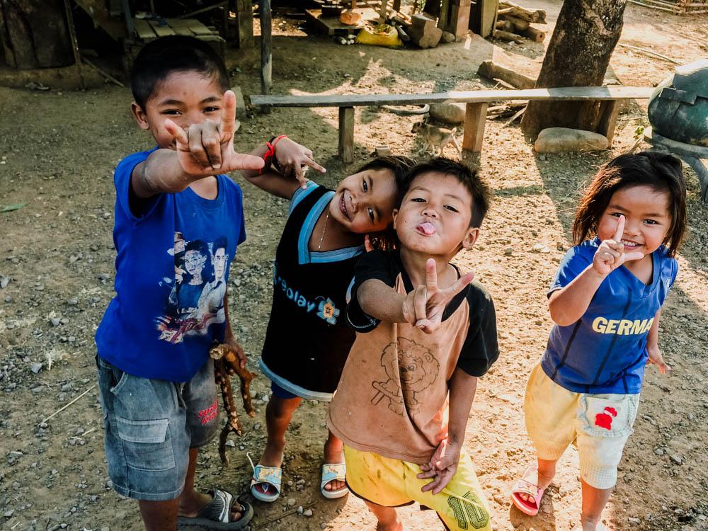 Kids on the Pakse Loop, Laos