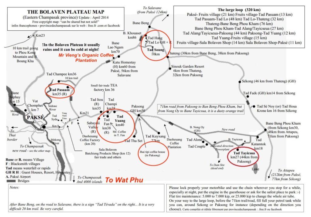 maps Pakse Loop for motorcycles in Laos