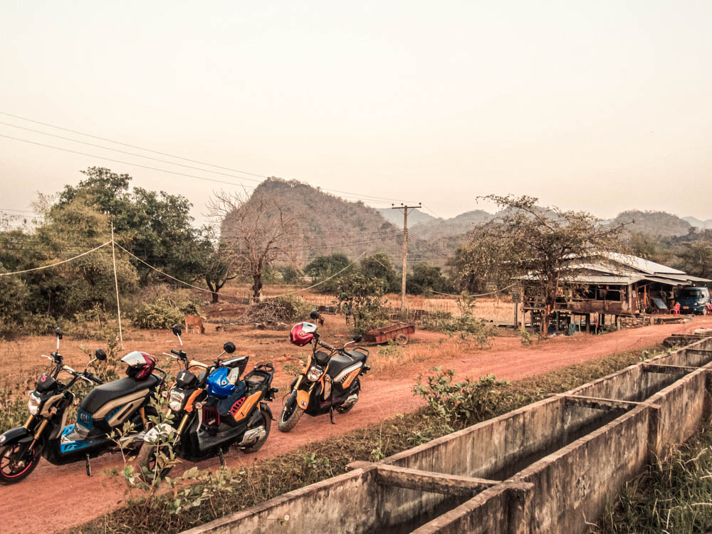 Motorcycles on the side of the road during the thakhek loop