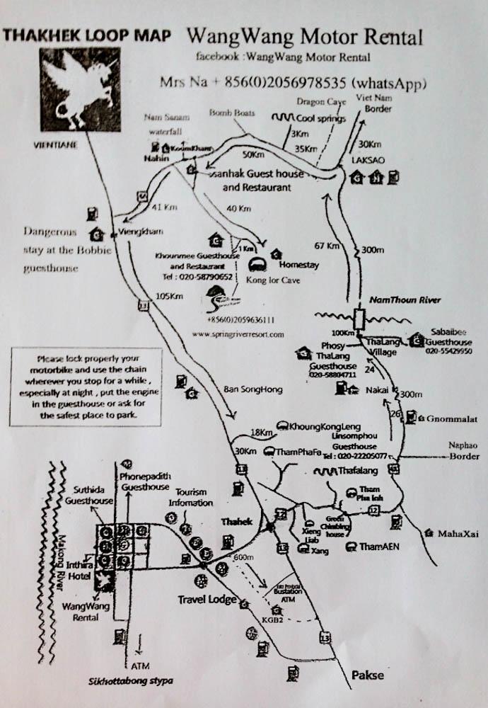 The map to thakhek motorcycle loop in Laos