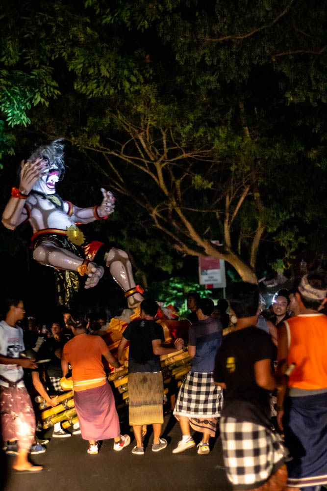 Parades during Day of Silence or Nyepi Da on the streets of Bali