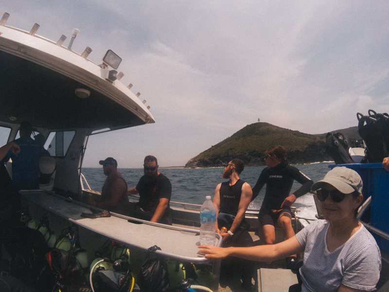 On the boat with South West Rocks Dive Centre on the way to Fish Rock!